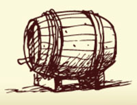 handrawing of an old wine barrel